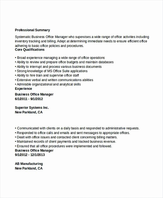 Office Manager Resume Template Unique Professional Manager Resume