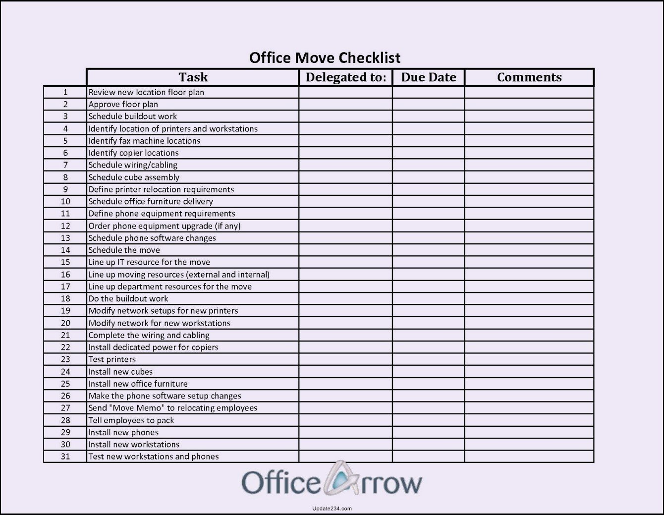 Office Move Checklist Template Elegant Fice Move Checklist Template Excel Template Update234