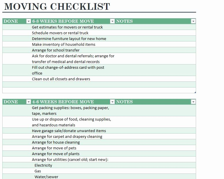 Office Move Checklist Template Fresh Home Moving Checklist
