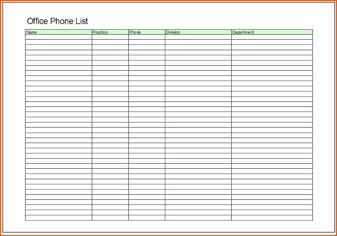 Office Phone List Template Best Of 6 Office Excel Templates Bookletemplate