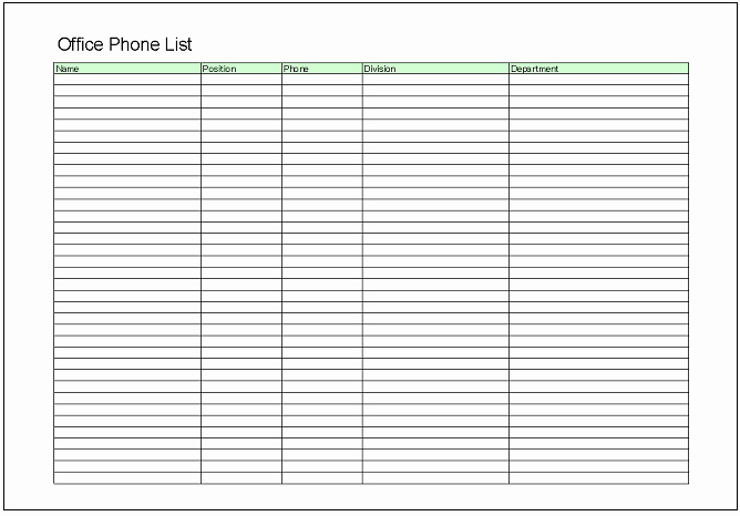 Office Phone List Template Elegant List Excel Templates Free Download
