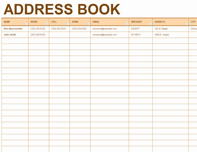 Office Phone List Template Fresh Address Book