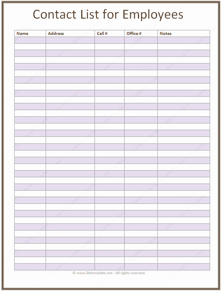 Office Phone List Template Inspirational Employee Contact List Template In A Basic format