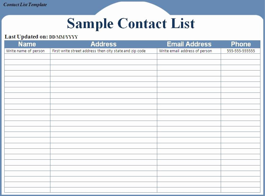 Office Phone List Template New Contact List Template Word Excel formats