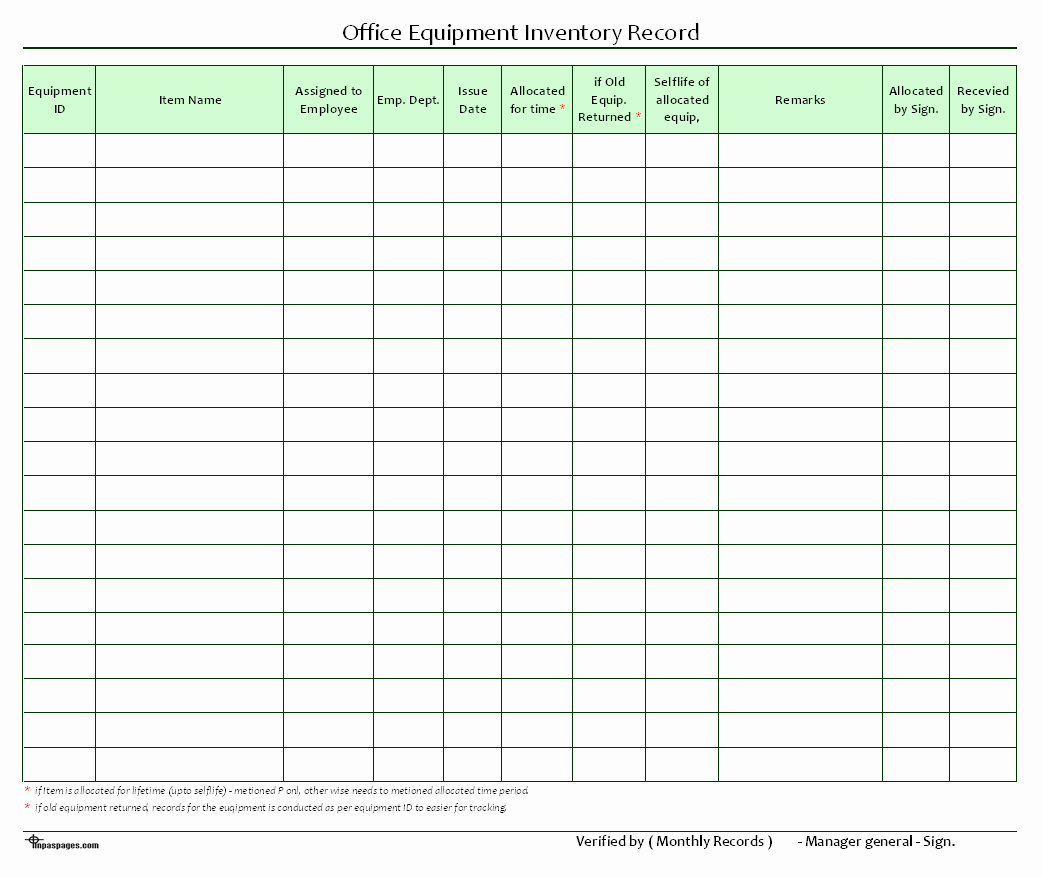 Office Supplies Inventory Template Unique Fice Equipment Inventory Record format