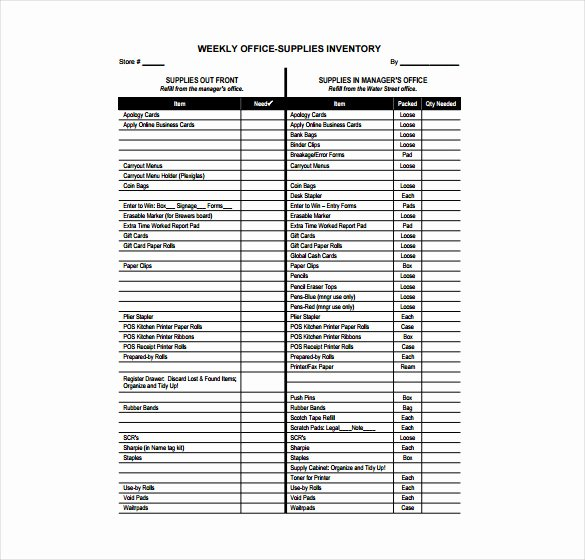 Office Supplies List Template Fresh Fice Supplies Inventory Template