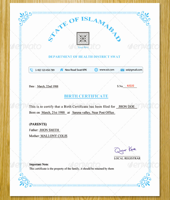 Official Birth Certificate Template Lovely 9 Ficial Birth Certificate Templates Psd Ai