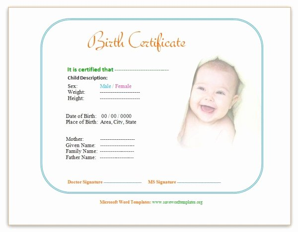 Official Birth Certificate Template Lovely Birth Certificate Template