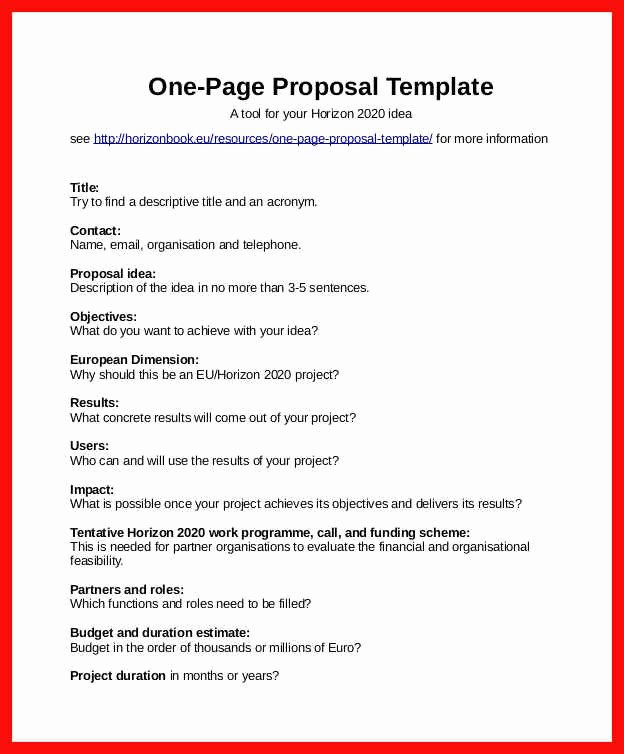 One Page Proposal Template Elegant One Page Proposal Example