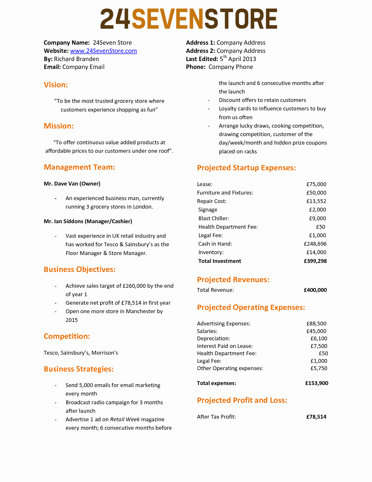 One Page Proposal Template Unique E Page Business Proposal Template