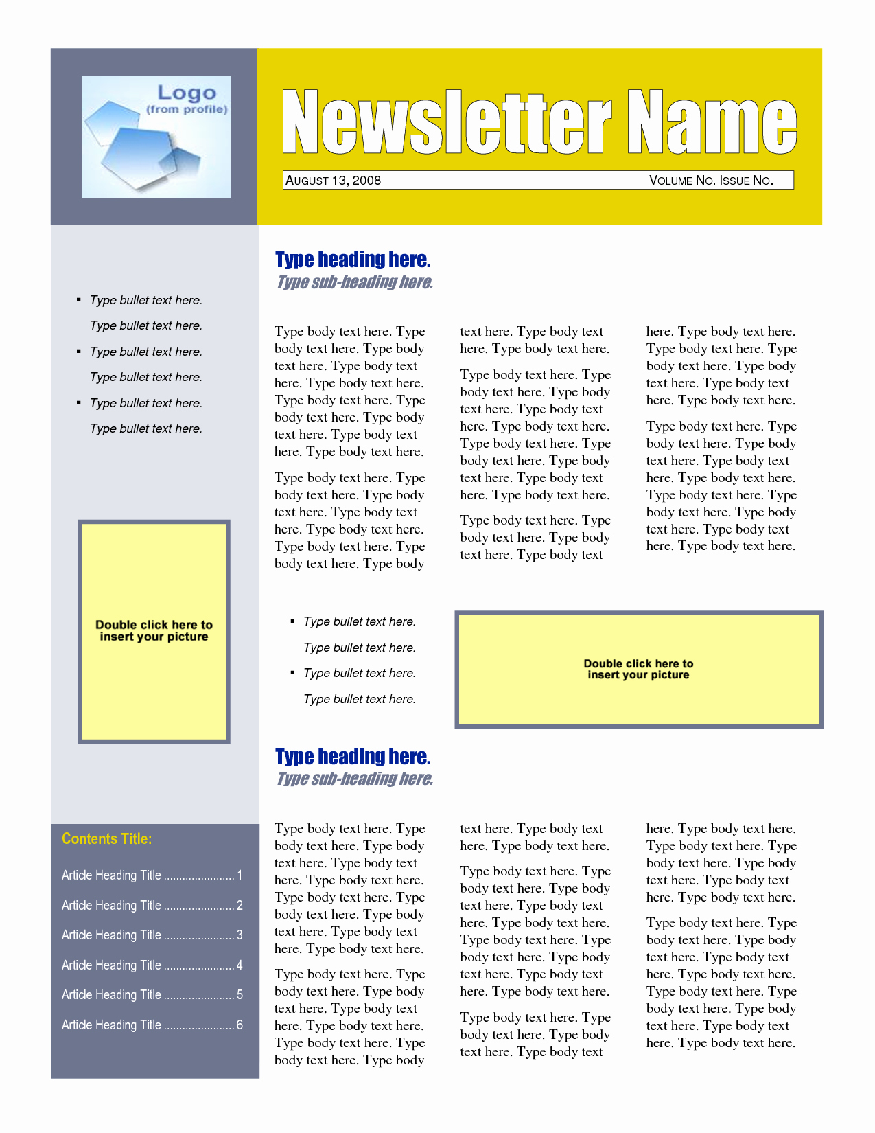 One Sheet Template Word Unique 8 Best Of E Page Newsletter Template Word Free