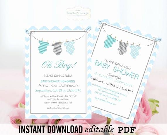 Onesie Invitation Template Printable Inspirational Esie Baby Shower Invitation Editable Pdf by Graphicartdesign