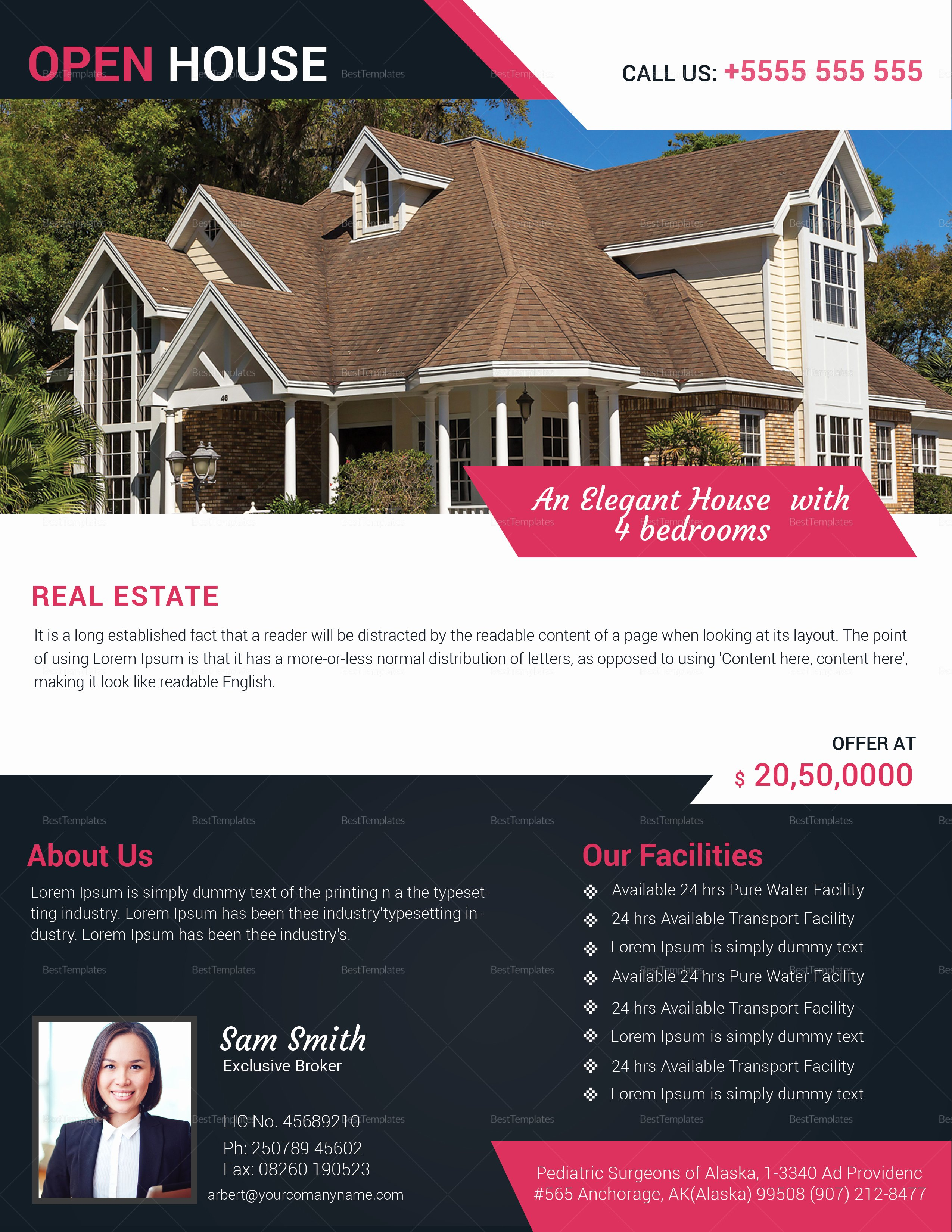 Open House Flyers Template Beautiful Realtor Open House Flyer Design Template In Word Psd
