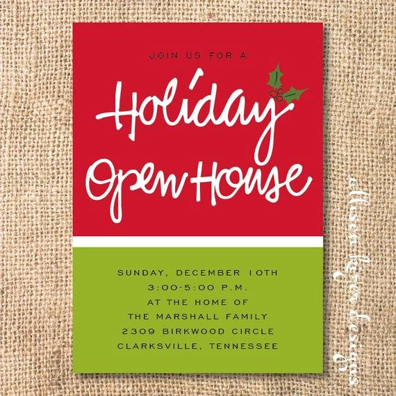 Open House Invitation Template Beautiful Items Similar to Holiday Open House Printable Invitation
