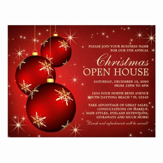 Open House Invitation Template Elegant Elegant Christmas Open House Invitation Template Postcard