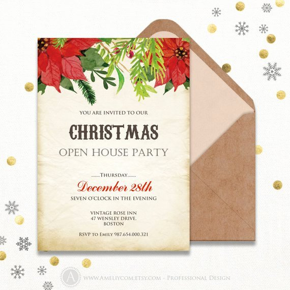 Open House Invitation Template Unique Items Similar to Printable Holiday Open House Invitations