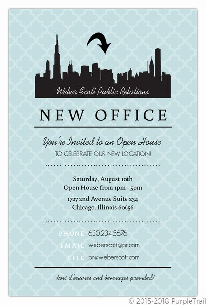 Open House Invite Template Best Of Blue Skyline Open House Invitation