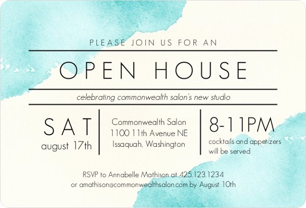 Open House Invite Template Inspirational Modern Watercolor Corporate Open House Invitation
