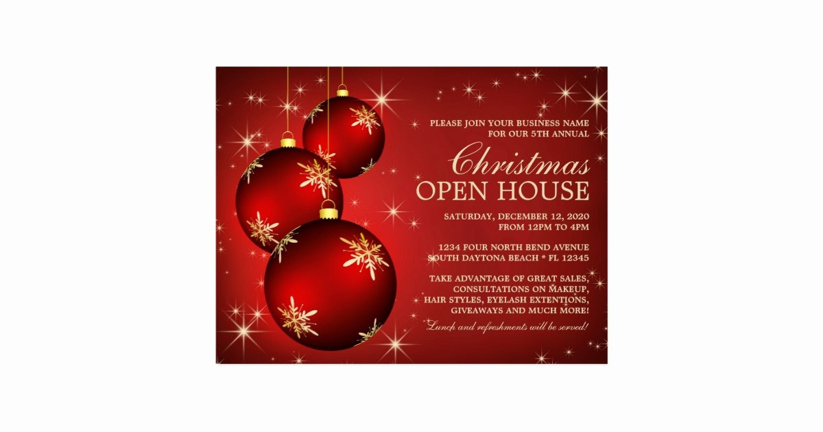 Open House Invite Template Luxury Elegant Christmas Open House Invitation Template Postcard