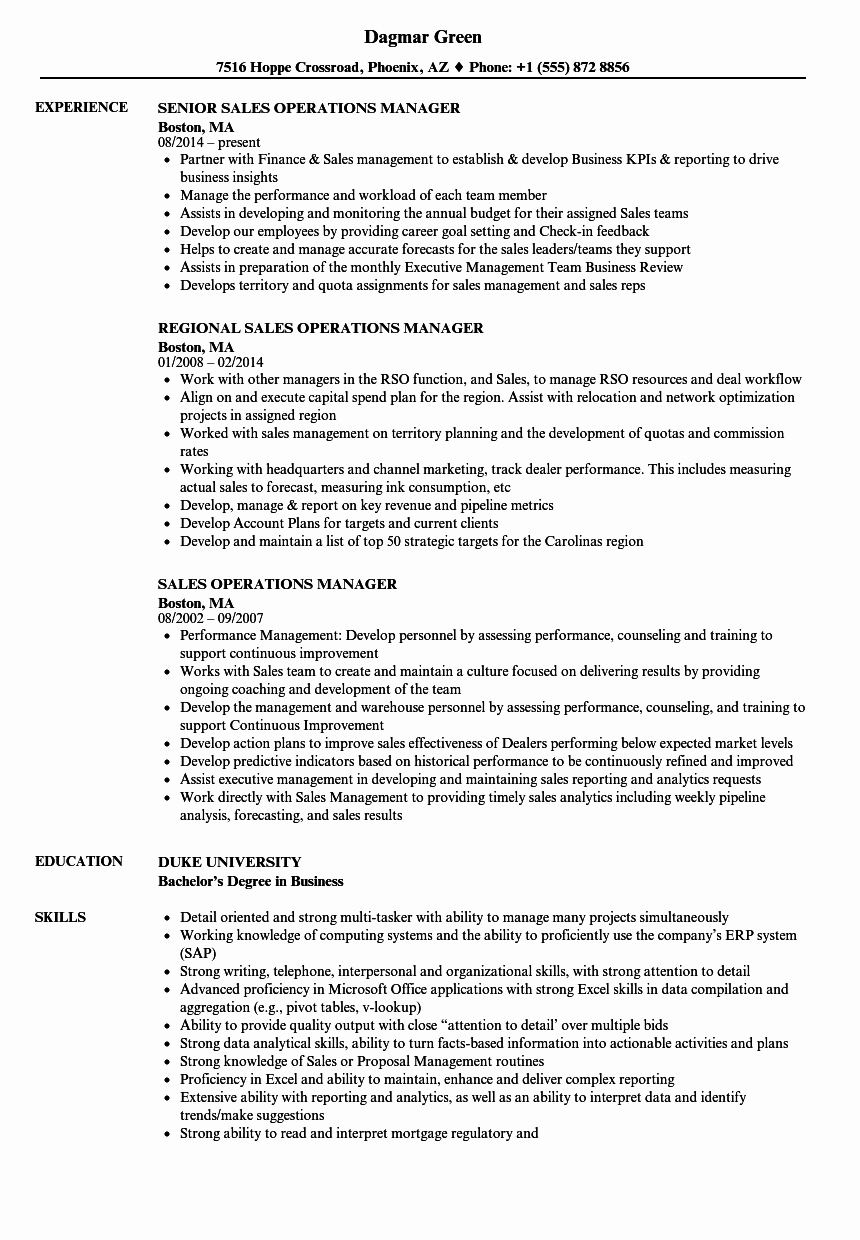 Operation Manager Resume Template Awesome Sales Operations Manager Resume Samples