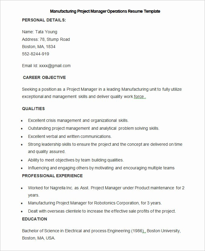 Operation Manager Resume Template Elegant Manufacturing Resume Template – 26 Free Samples Examples