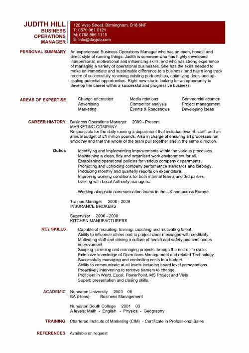 Operation Manager Resume Template Elegant Regional Operations Manager Resume Resume Acierta