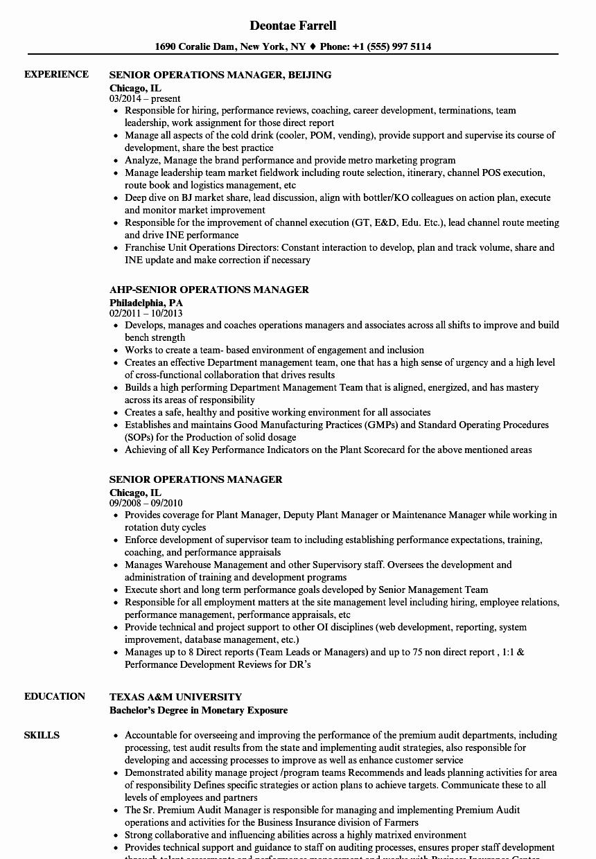 Operation Manager Resume Template Fresh Senior Operations Manager Resume Samples