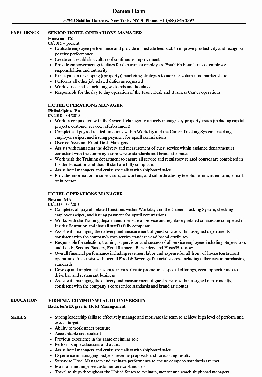Operation Manager Resume Template Inspirational Hotel Operations Manager Resume Samples
