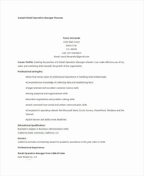Operation Manager Resume Template Unique 7 Operations Manager Resume Free Sample Example