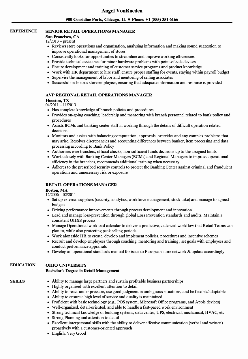 Operation Manager Resume Template Unique Retail Operations Manager Resume Samples