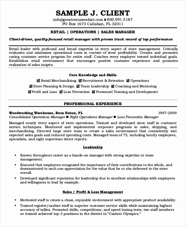 Operation Manager Resume Template Unique Retail Store Operations Manuals Sample European Law In