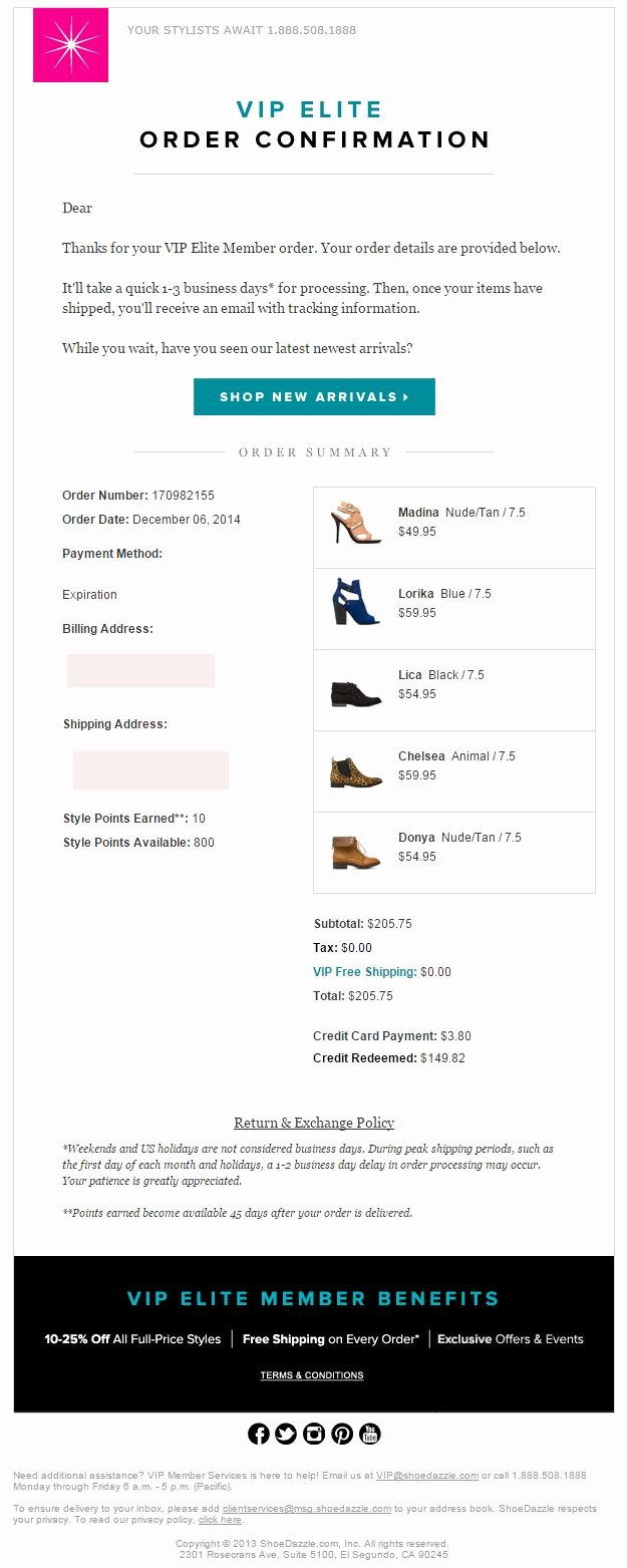 Order Confirmation Email Template Luxury Shoedazzle order Confirmation Email 2015