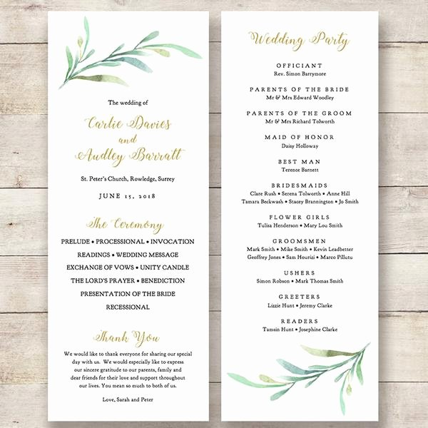 Order Of Service Template Elegant Greenery Wedding Program Template Greenery Wedding order