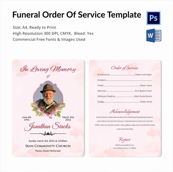 Order Of Service Template Lovely 5 Funeral order Of Services Word Psd format Download