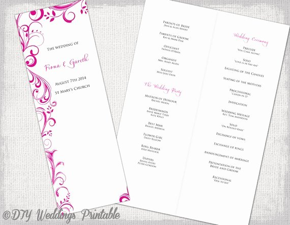 Order Of Service Template Lovely A4 Wedding order Of Service Template Begonia Pink