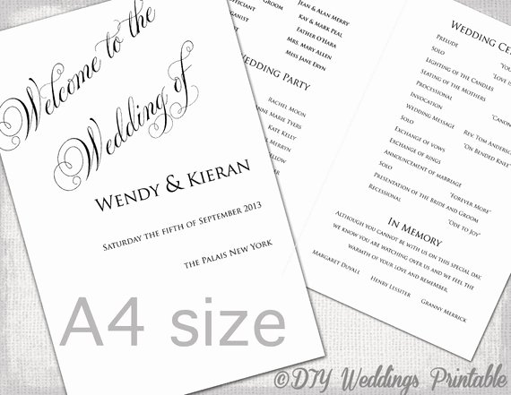 Order Of Service Template Lovely A4 Wedding order Of Service Template Black & White Diy