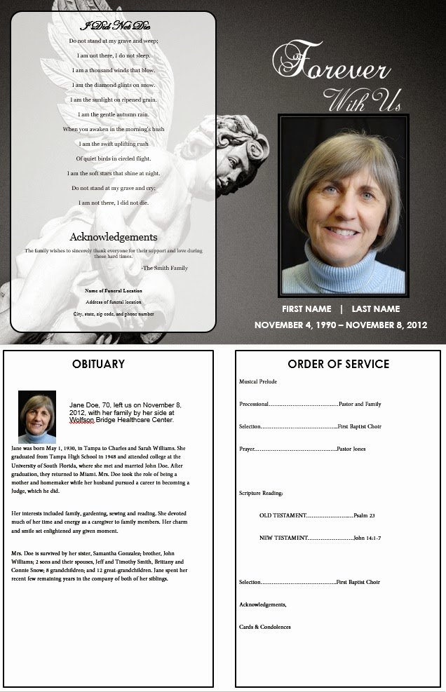 Order Of Service Template Lovely the Funeral Memorial Program Blog May 2013