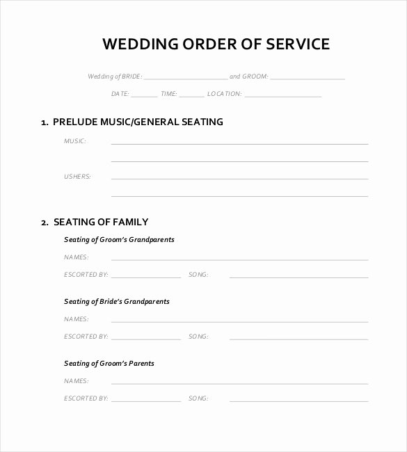 Order Of Service Template Luxury 16 Wedding order Of Service Templates – Free Sample