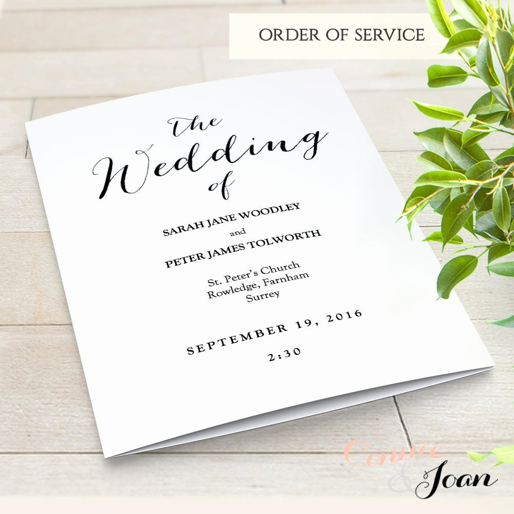 Order Of Service Template Luxury Booklet Wedding Program Template Church order Of Service