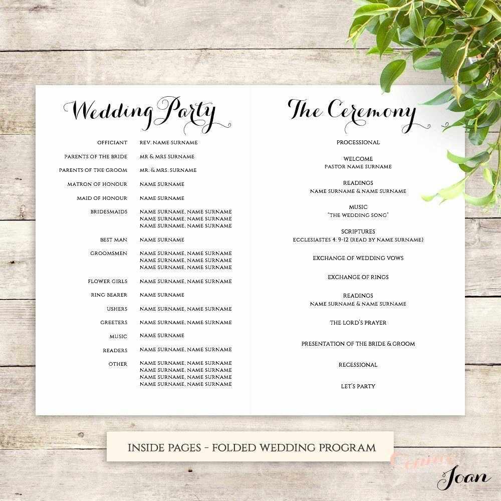 Order Of Service Template Luxury byron Printable Wedding order Of Service Template In 2019