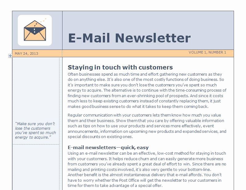 Outlook Email Newsletter Template Elegant Email Newsletter Template
