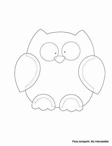 Owl Cut Out Template Beautiful Good for Quilt Outline Embroidery or Cut Out and Make A