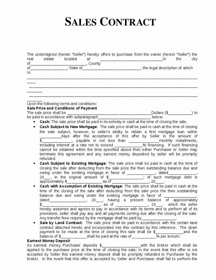 Owner Finance Contract Template Elegant 10 Best Of Home Sale by Owner Agreement Template
