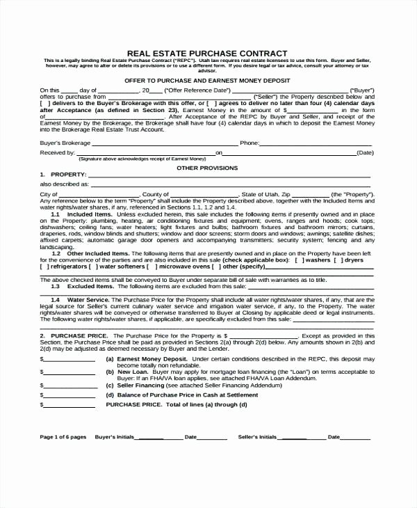 Owner Financing Contract Template Best Of Free Printable Real Estate Purchase Agreement Lovely