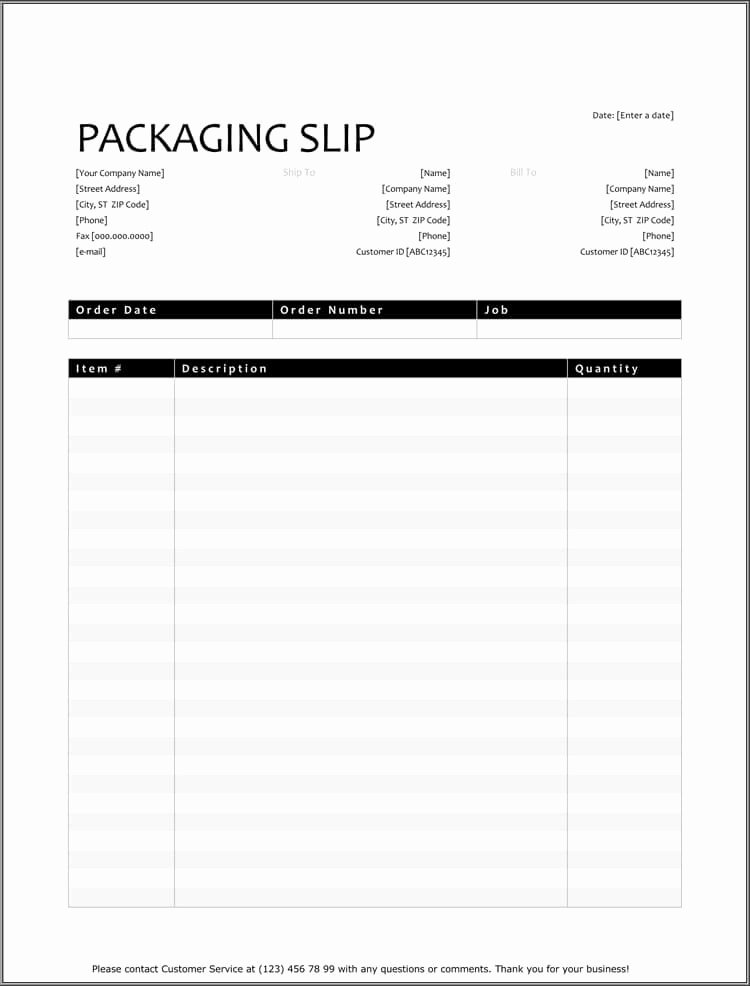 Packing List Template Excel Fresh 25 Free Shipping & Packing Slip Templates for Word & Excel