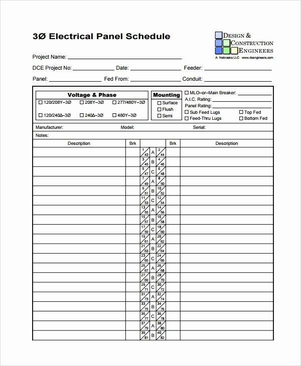 Panel Schedule Template Excel Luxury 8 Panel Schedule Templates