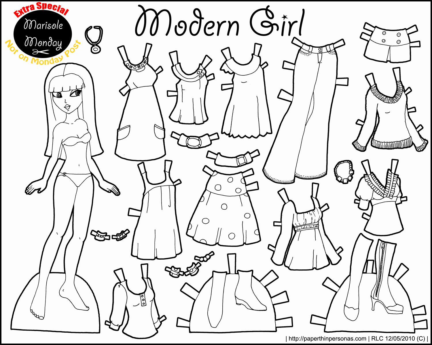 Paper Doll Clothes Template Best Of Paper Doll Printable Marisole Black and White 150