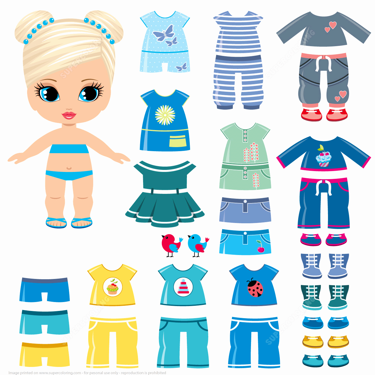 Paper Doll Clothes Template Inspirational Summer Clothing and Shoes for A Little Girl Paper Doll