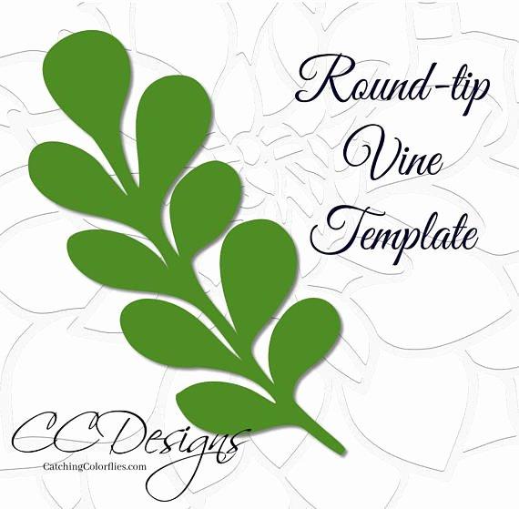 Paper Flower Leaf Template Fresh Round Tip Vine Leaf Template Paper Vine Templates Paper Leaf
