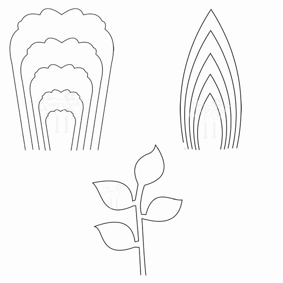 Paper Flower Leaf Template Unique Pdf Set Of 2 Flower Templates and 1 Leaf Template Giant